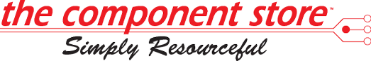 the component store logo in Eyehawk font, skewed, red lettering, with black brush script underneath reading: 'Simply Resourceful'